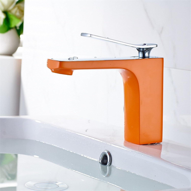 Bijjaladeva Antique Bathroom Sink Vessel Faucet Basin Mixer Tap All copper half-painted half-plated single handle single hole orange bathroom faucet hot and cold basin mixer