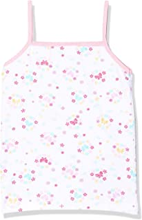 PaPillon Contrast Printed SPaghetti StraPs Cotton Undershirt for Girls, White & Pink, 2 Years