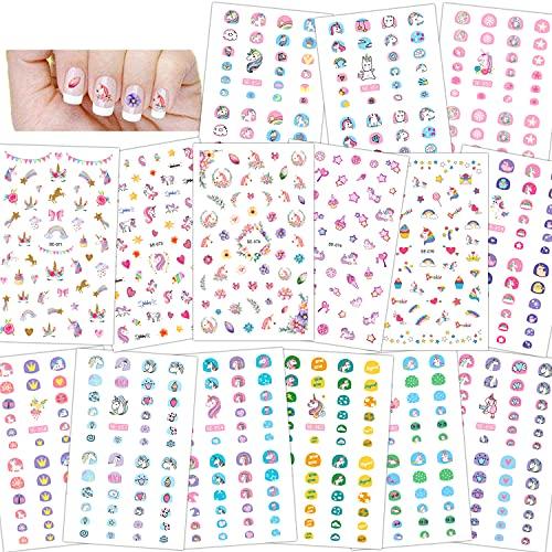 Konsait 500+ Unicornio Nail Art Stickers uñas pegatinas 3D uñas calcomanías autoadherentes para niños niñas Regalo Unicornio Fiesta de Navidad cumpleaños uñas decoración