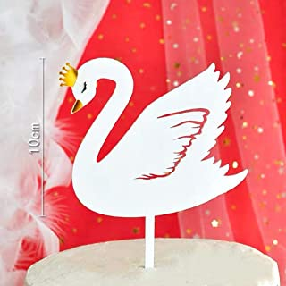 NMAS Cute Swan Lovely Cake Topper Acrylic White, Baby Shower, Baby Girl Boy Neutral Birthday Wedding Anniversary Festival Cake Topper Decorations Supplies