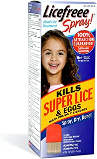 Licefreee Spray Head Lice Spray - Super Lice Treatment for Kids and Adults - Kills Lice and Eggs on Contact - Includes Professional Metal Nit and Lice Comb - 6 Oz