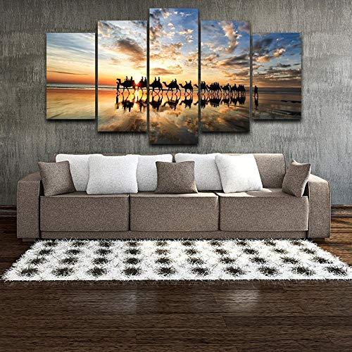Cuadro en Lienzo Modular Wall Art Picture 5 Piezas Beach Sunset Seaside Camel Team Poster Sala de Estar Decoración del hogar-No Frame