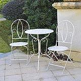 GlamHaus Garden Bistro Set 3 Piece Outdoor Metal Foldable Patio Balcony Furniture Shabby Chic - Marseille Antique White