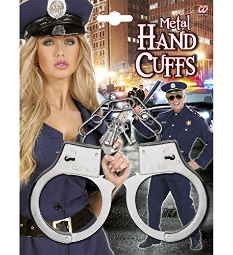 Metall-Handschellen plus 2 Schlüssel für Karneval, Mottoparty oder Krimi-Diner // Spielzeug Kinder Kindergeburtstag Geburtstag Polizei Mitgebsel Geschenk Sherlock Holmes Detektiv Verkleidung Fasching Hand cuffs