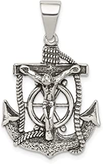 925 Sterling Silver Mini Nautical Anchor Ship Wheel Mariners Inri Crucifix Cross Religious Pendant Charm Necklace Fine Jewelry Gifts For Women For Her