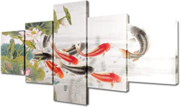 Carp Leaping Dragon Gate Paintings House Decorations Living Room Koi Fish Pictures 5 Piece Canvas Wall Art Asian Artwork H...