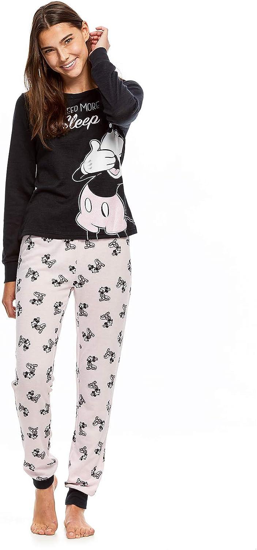 Long Sleeve Top /& PJ Pants Disney Mickey Mouse Women/'s 2-Piece Pajama Set