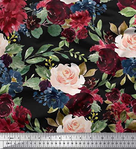 Soimoi Schwarz modaler Satin Stoff Blätter und Pfingstrose Blumen- Drucken Nahen Stoff 1 Meter 42 Zoll breit