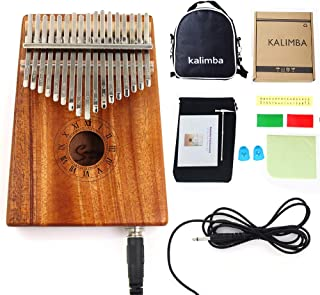 Smiger Electric Kalimba17 keys Thumb Piano Solid Mahogany Wood Kalimbas with Pickup Mbira kit 10 foot Cable Study Instruction Bag