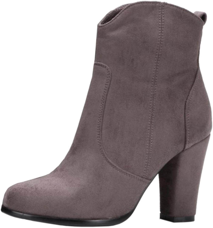 TAOFFEN Women Block Heel Short Boots Autumn-Winter Ankle Booties