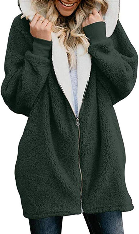 Women's Teddy Bear Hooded Coat Ladies Faux Fur Winter Mid Long Outwear Jackets