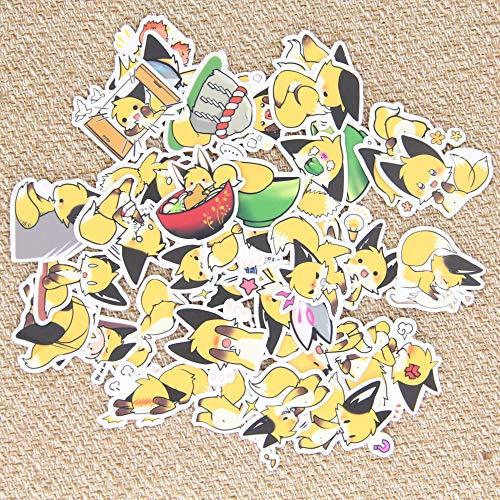 BAIMENG Cute Yellow Little Fox Animal Emoji Manual Álbum DIY Estuche para teléfono Mini Paquete de Pegatinas Decorativas 40 Piezas