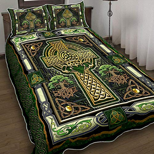 BOTAWOE Irish Celtic Cross Quilt Bed Set Bedding Set 3 Pieces Quilt Cover with Pillowcase Cover Soft Comfortable for Kids Parents Us Twin Queen King Size