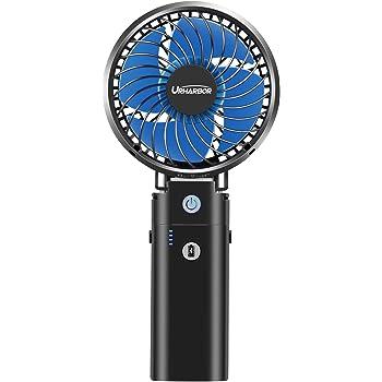 携帯扇風機 充電式 最大35時間動作 手持ち扇風機 【20dB超静音 2020年最強版】「5in1機能搭載」URHARBOR USB扇風機 5200mAhモバイルバッテリー内蔵 6段階風量調節 手持ち 卓上 クリップ 首掛け 扇風機 モバイルバッテリー ハンディファン 小型扇風機 折り畳み スタンド機能 ブラック 【一年保証 PSE認証済】