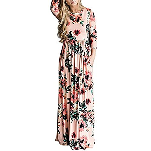 ffc95913754a HUHHRRY Women Floral Print Casual Plain Stretch Tank Maxi Long Dress