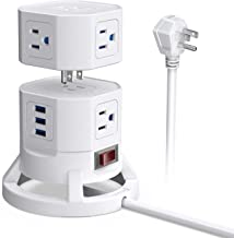 BESTEK 2-Tier Stackable 8 Outlets Power Strip Tower Electric Charging Station with 3 USB Ports for PC Laptop Mobiles,6 Feet Extension Cord,White