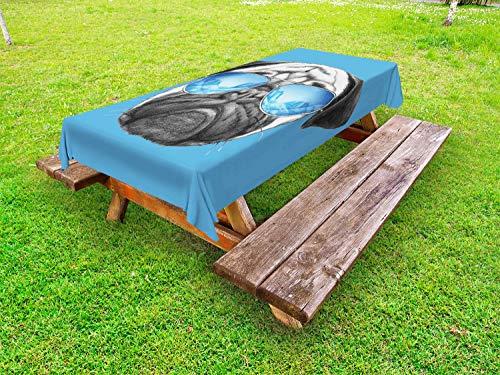 ABAKUHAUS mopshond Tafelkleed voor Buitengebruik, Portret met Zonnebril, Decoratief Wasbaar Tafelkleed voor Picknicktafel, 58 x 120 cm, Pearl Blauw Zwart