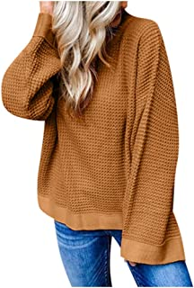 Eoeth Women's Fashion Autumn Winter Long Sleeve Round Neck Knitted Pullover Blouses Plus Size Solid Sweaters Top