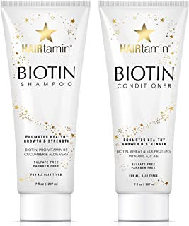 Hairtamin Hair Growth Shampoo and Conditioner Set - Paraben & Sulfate Free, Volumizing & Moisturizing, Best Natural Biotin Shampoos and Conditioners, Gentle Moisturizer on Curly & Color Treated Hair