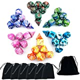 SmartDealsPro 6 x 7 Sets(42 Pieces) Two Colors D4 D6 D8 D10 D12 D20 Polyhedral Dice Sets for Dungeons and Dragons DND RPG MTG Pathfinder Table Board Games with Pouches