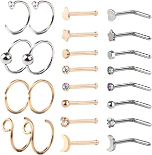 HOVEOX 24 Pieces Nose Ring Hoop L Screw Bone Shaped Nose Stud 316L Stainless Steel Body Piercing Nose Rings Studs Screw Retainer