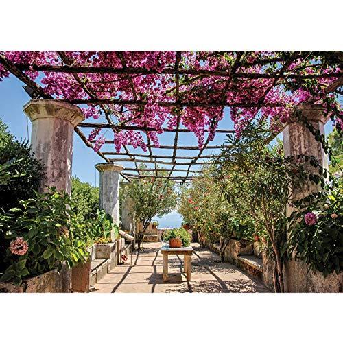 Vlies Fototapete PREMIUM PLUS Wand Foto Tapete Wand Bild Vliestapete - Säulengang Garten mediterran - no. 3290, Größe:368x254cm Vlies