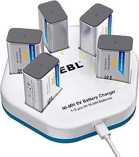 EBL 9V Batteries (5 Packs) 280mAh NiMH Battery with 5-Slot Battery Charger for 9V Battery
