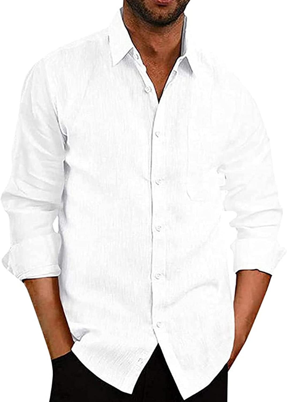Angbater Mens Casual Linen Shirts Button Down Lapel Loose Fit Long Sleeve Lightweight Pocket Beach Shirts