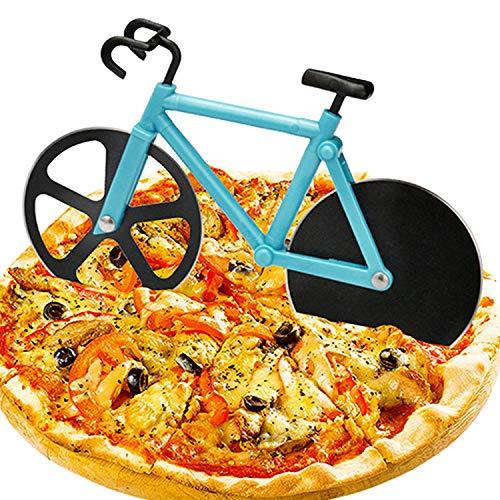 WELLXUNK Fahrrad Pizza Cutter,Edelstahl Doppel Pizzaschneider Kreatives Pizzaschneider für Weihnachten Party Geschenke Pizzaroller aus Antihaftbeschichtetem für Party usw
