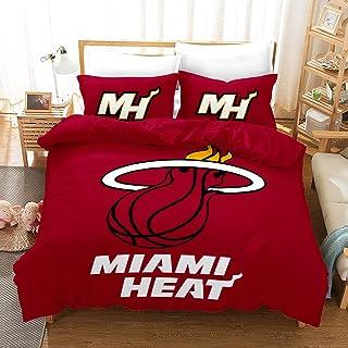 Cweads NBA Sets de Housse de Couette Miami Heat 3D Imprimé en Microfibre avec Taies d'oreiller pour Enfants Adolescents Ad...