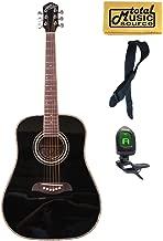 Oscar Schmidt Dreadnought OG1BLH 3/4 Size Acoustic Guitar, Left Handed, Black, Free Strap Tuner