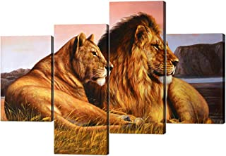 4 Panels Modern Framed Lion Canvas Gallery-wrapped Lion and Lioness Picture Printed on Canvas Giclee Artwork Modern Lion Pictures Stretched by Wooden Frame for Home Decor - 40''W x 28''H
