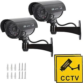 TIMESETL CCTV Dummy bewakingscamera met rode knipperende LED nep beveiligingscamera - zwart