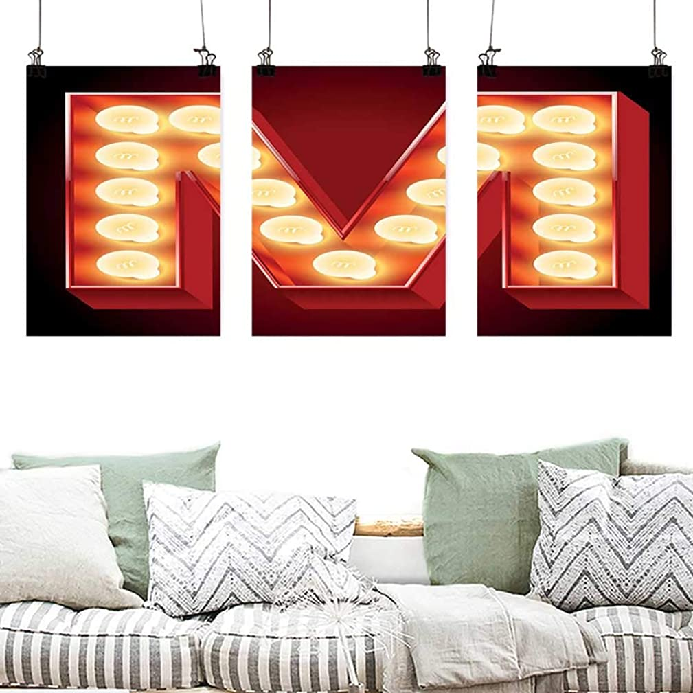 Agoza Canvas Prints Wall Decor Art Letter M Vintage Alphabet Collection of Old Movie Theaters Casinos Retro Type Oil Canvas Painting Wall Art 3 Panels 24x35inchx3pcs Vermilion Yellow Black