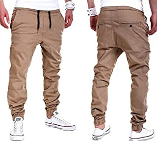YUNY Men Cotton Stylish Casual Jogger Pure Color Students Boardshorts Khaki M