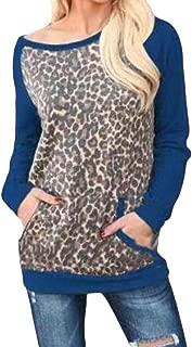 Macondoo Women's Print Round Neck Leopard Pullover Raglan Sleeve Top Sweatshirts