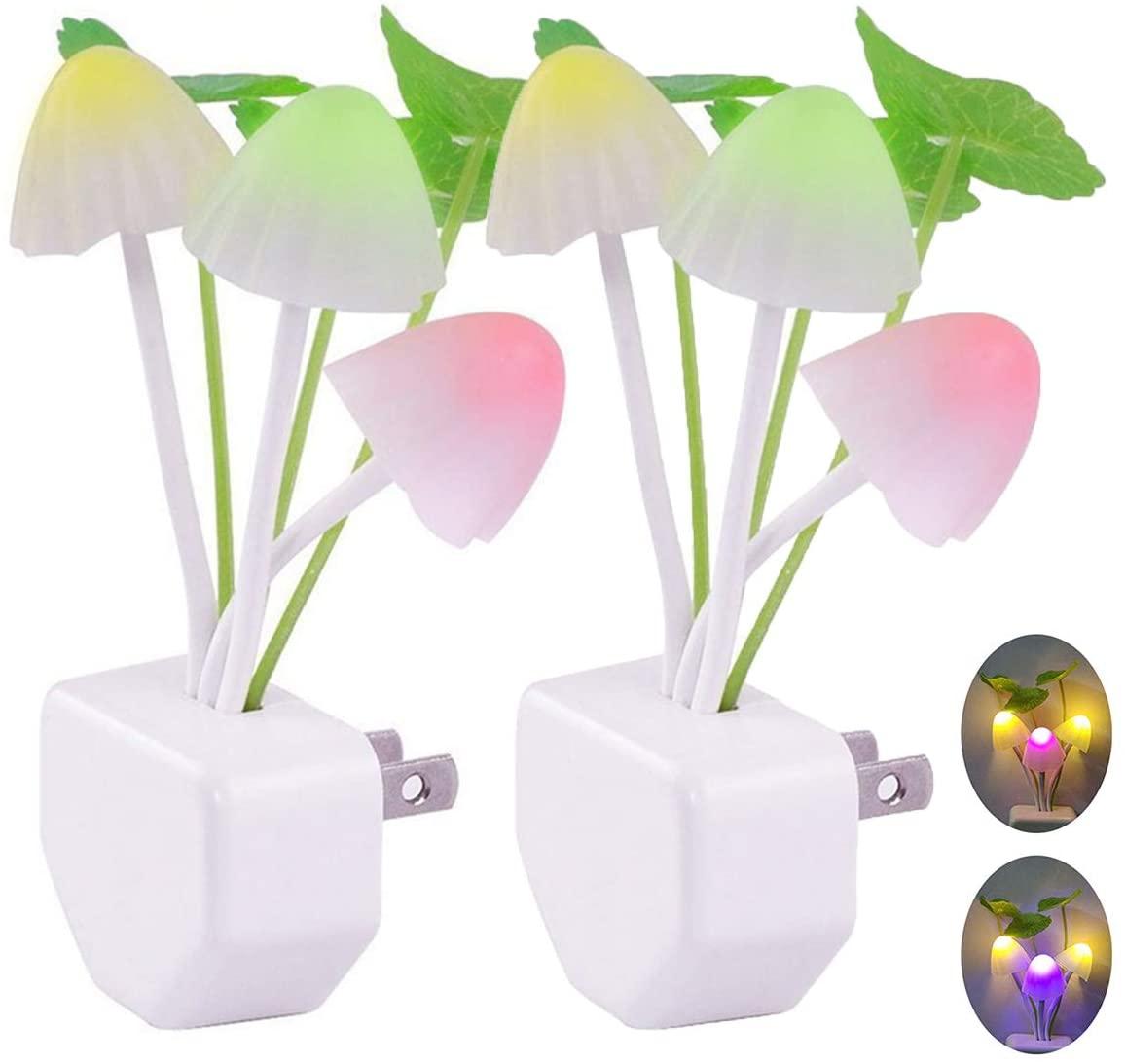 [2 Pack] Plug in Wall LED Mushroom Night Light Lamp with Dusk to Dawn Sensor, Cute Color Changing Bed Nightlight LED Wall Light