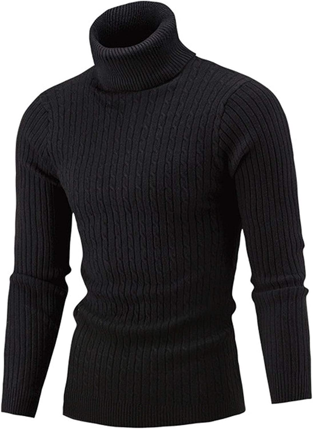 Men Autumn Winter Warm Sweater Solid Color Long Sleeve High Collar Knitted Pullover Turtelneck