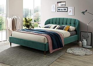 Lit capitonné en velours vert émeraude 160 x 200 cm avec support de matelas en bois Montage facile