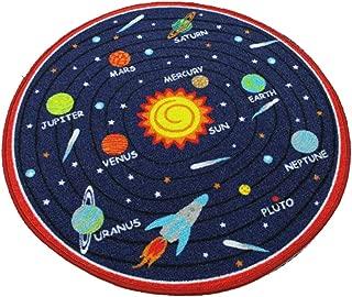 HUAHOO Kids Round Rug Solar System Learning Area Rug Children's Fun Area Rug - Non Slip Bottom (Solar System, 39