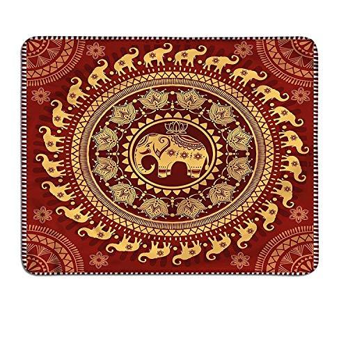 Elephant Mandala Slimline Mouse Pad Tribal Mehndi Telón de Fondo étnico con Flores de Loto Guardián Animalart Deco Mouse Pad Borgoña y Amarillo
