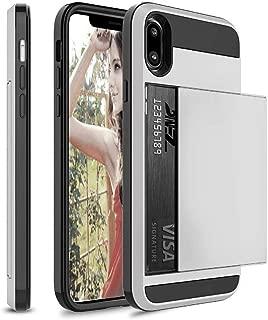 スライドクレジットカードスロットウォレット電話ケースFor iPhone X XS Max 7 8 XR 5 SE 6ケースFor iPhone 5 5s 6 6Sプラス7+ 8+ケース-Silver-For iPhone 7