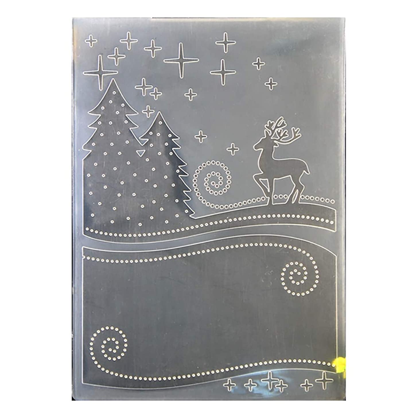 Kwan Crafts Merry Christmas Deer Tree Plastic Embossing Folders for Card Making Scrapbooking and Other Paper Crafts, 12.5x17.7cm