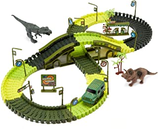 iLifeTech Dinosaur Race Track Car Toys 165pcs Flexible Track Sets for 3-12 Years Old Boys and Girls Gift