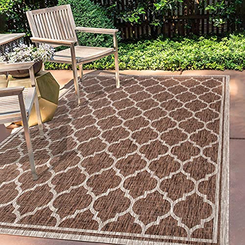 JONATHAN Y Trebol Moroccan Trellis Textured Weave Indoor/Outdoor Espresso/Taupe 3 ft. x 5 ft. Area Rug, Coastal,EasyCleaning,HighTraffic,LivingRoom,Backyard, Non Shedding