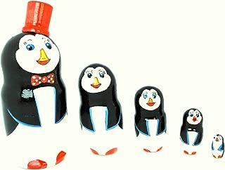 Gabriella's Gifts Authentic Russian Hand Painted Penguins Nesting Dolls Set of 5 Pcs Matryoshkas 5