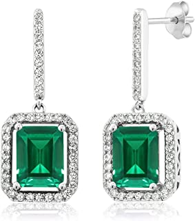 925 Sterling Silver Green Simulated Emerald Earrings 4.96 Ctw Emerald Cut