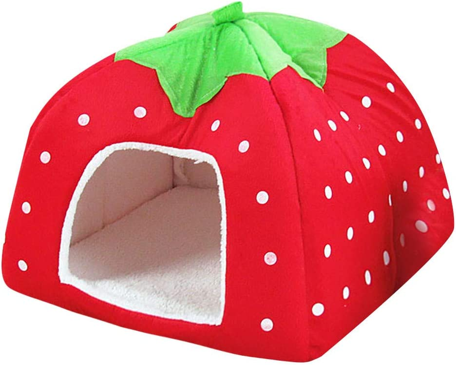 DDLmax Strawberry Soft Tent Bed Cute Sponge Puppy Cat Cave Dog House for Pets