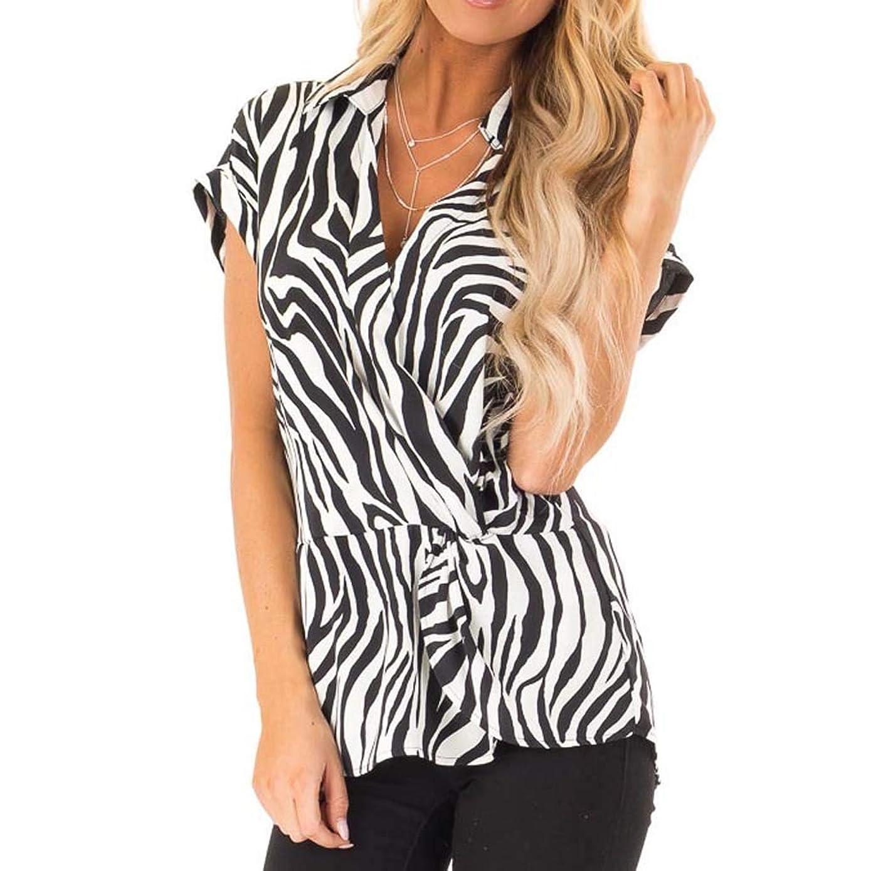 Tops for Women Fashion Zebra Stripe Print Short Sleeve T-Shirt Casual Front Irregual Blouse