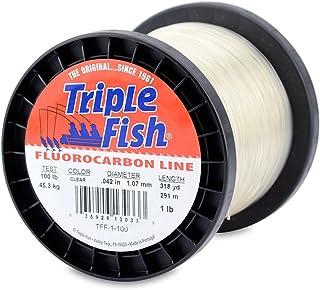 Triple Fish 100 lb Test/1 lb 线轴碳氟鱼线,透明,1.07 mm